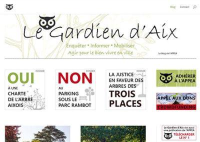 Création de blog, mise en page et signalétique pour Le Gardien d'Aix