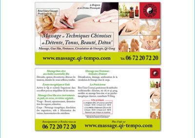 Carte publicitaire pour une activité de massage bien-être