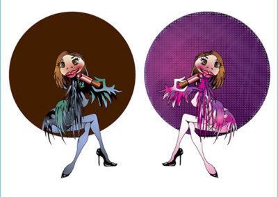 Dessin d'une mascotte sous Illustrator avec variantes dans deux harmonies colorées