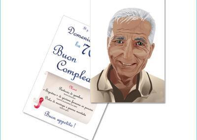 Portrait dessiné sur Illustrator d'après photo et menu de fête