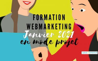 Formation Webmarketing en mode projet en janvier 2021