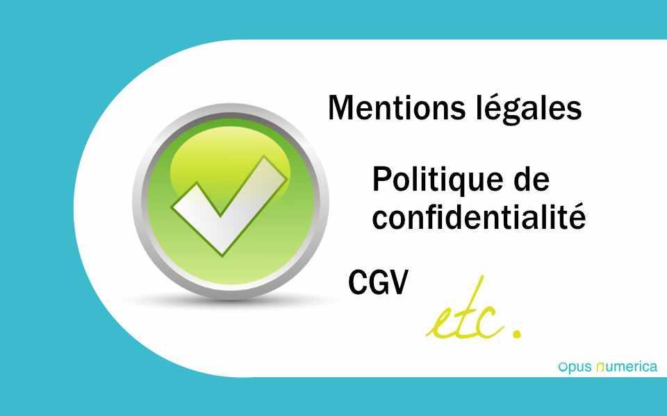 Mentions légales d'un site web, Politique de confidentialité, CGV