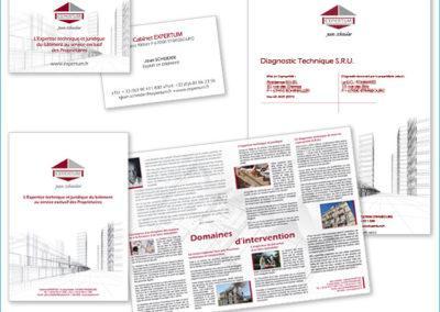 Création et réalisation graphique de la communication visuelle d'un expert immobilier : plaquette de présentation, carte de visite, modèle de rapport d'expertise