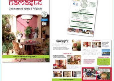 Plaquette de présentation : dépliant format A5 pour Namaste, chambres d'hôtes à Avignon