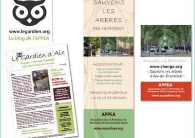 Création d'une charte graphique, réalisation d'un magazine et de roll-ups pour une association de protection de l'environnement d'Aix-en-Provence