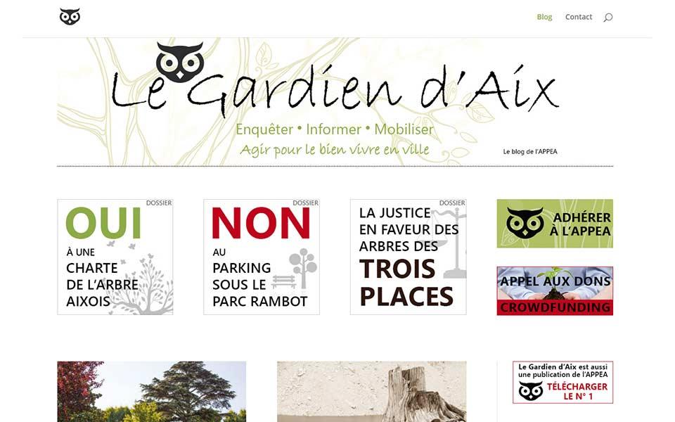 Le Gardien d'Aix : création du blog et de la publication imprimée d'une association de protection de l'environnement