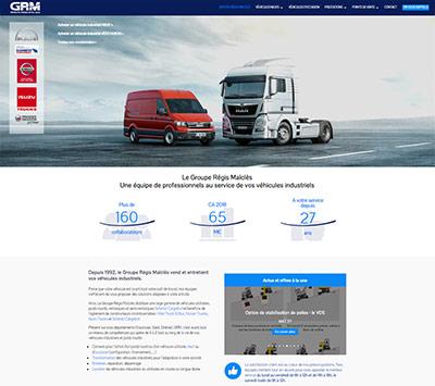 Site web du Groupe Régis Malclès (GRM), spécialiste de la vente et de la location de véhicules industriels basé à Cavaillon (Vaucluse)
